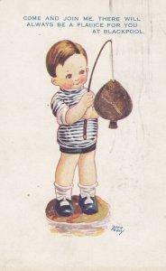 Boy with a fish , BLACKPOOL , England , 1927