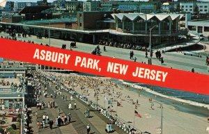 Circa 1968 Asbury Park, New Jersey Beach Boardwalk Flags Postcard