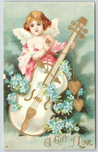 Clapsaddle Valentine~Cupid Plays Bass Violin With Arrow~Pink Gossamer~Gold Leaf