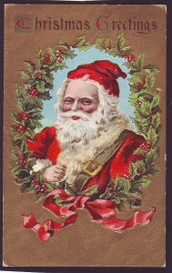 P1532 1911 used postcard a large santa clause christmas greetings with holy