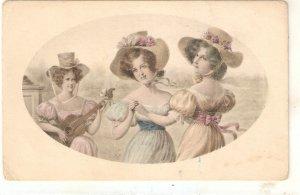 Three elegant ladies Niece old vintage Austriak postcard