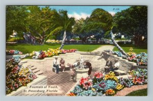 St Petersburg FL, Fountain Of Youth, Linen Florida Postcard
