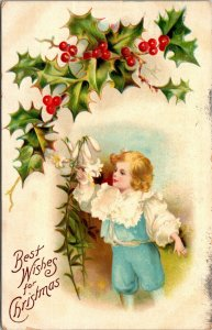 Best Wishes Christmas - KIDS CHILDREN - HOLLY FLOWERS - POSTCARD PC POSTED