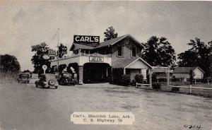 C68/ Blackfish Lake Arkansas AR Postcard c40s Roadside Carl's Cafe Gas Station