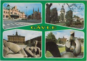 GAVLE, Sweden, multi view, used Postcard