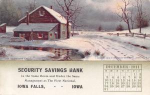 Iowa Falls Security Savings Bank Calendar Postcard~Gerloch-Barklow 12/1911