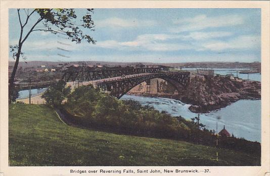 Canada Bridges Over Reversing Falls Saint John 1940