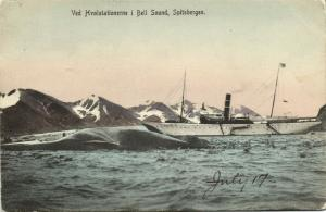 norway, SPITSBERGEN SVALBARD BELLSUND, Hvalstationerne Whaling Stations Steamer