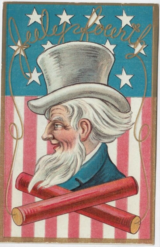 FOURTH of JULY , 1900-10s ; Uncle Sam & Firecracker & Flag