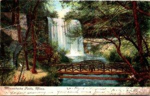 Minnesota Minneapolis Minnehaha Falls Showing Rustic Bridge 1907