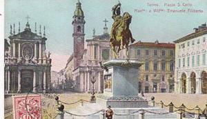 Italy Torino Piazza San Carlo Monumento Emanuele Filiberto 1908