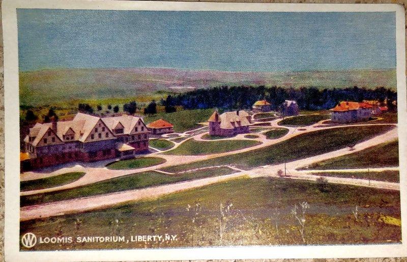 Loomis Sanitorium, Liberty NY  O & W RR Postcard