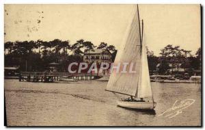 Postcard Old Sailboat Boat Basin & # 39Arcachon Debarcadere and & # 39hotel R...
