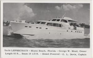 c1950 MIAMI BEACH Florida Fla RPPC Postcard YACHT LEPRECHAUN Diesel Mead Owner