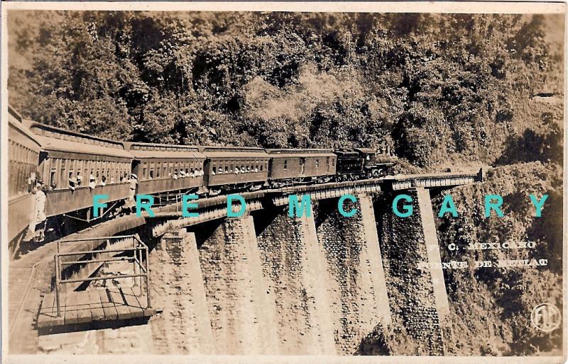 1910 Veracruz Mexico RPPC: Ferrocarril Mexicano on Bridge