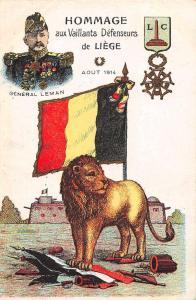 Liege Belgium Hommage aux Vaillants Defenseurs Gen Leman antique pc Z43793