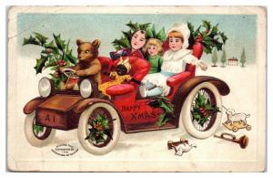 Early 1900s Happy Xmas Bear Driving Car with Black Doll Postcard