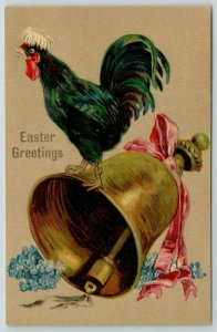 Easter~Polish Fluffy Feathered Rooster on Bell Crows~Tan Back Embossed~Germany