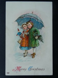 MERRY CHRISTMAS Children with Gifts & Toy in Snow c1908 Embossed Postcard
