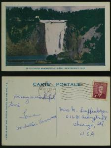 Montmorency Falls Quebec postmarked 1953