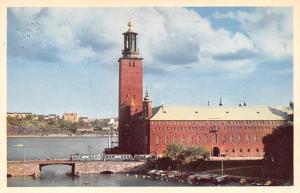 Sweden Old Vintage Antique Post Card Stadshuset Stockholm 1956