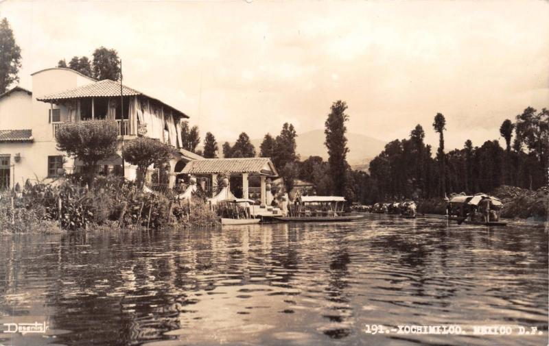 XOCHIMILCO F D MEXICO BUILDING ON CANAL~ REAL PHOTO POSTCARD 1940s