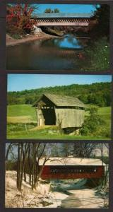 VT Lot of 3 Covered Bridges in VERMONT Postcards PC