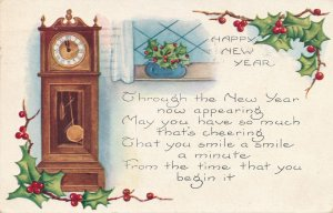 New Years Day Greetings - Grandfather Clock - pm 1922 - Whitney Made - DB
