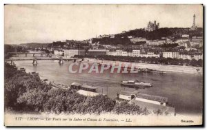 Old Postcard Lyon The bridges over the Saone and hillside fourviere