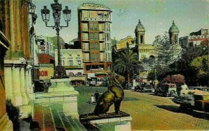Algeria Oran Rue de l'Hotel de Ville et Theatre Statue Street Cars Postcard