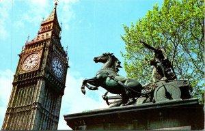 London UK Big Ben Boadicea Statue Postcard unused (25959)