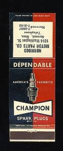 Champion Spark Plugs Matchcover, Norwood Motor Parts, Nor...