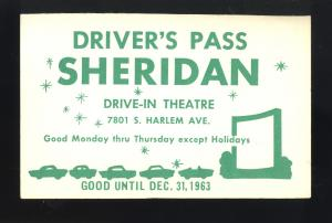 1963 Sheridan Drive-In Theatre Driver's Pass, Bridgeview, Illinois/IL