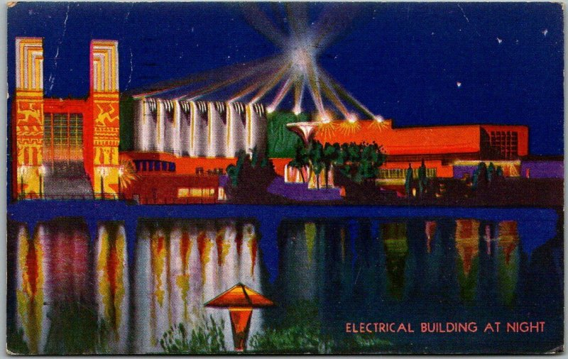 CHICAGO WORLD'S FAIR Expo Postcard ELECTRICAL BUILDING AT NIGHT 1934 Cancel