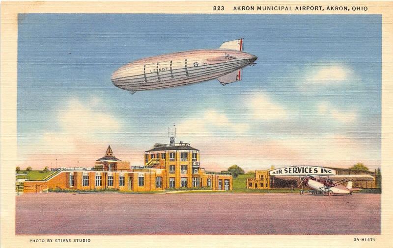 F27/ Akron Ohio Postcard Linen Municipal Airport Blimp Zeppelin