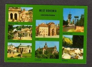 Czechoslovakia West Bohemia Fold-out postcard Map Czechoslovak Czech Republic