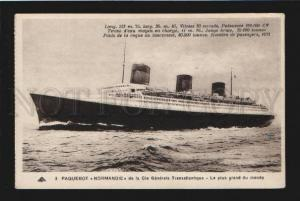 077943 FRENCH Steam-ship Normandy Vintage PC