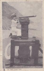 Lookout Military Child Periscope Telescope Antique East London School Postcard