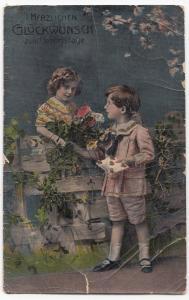 Greetings; German Language Happy Birthday PPC WW1, To Berlin June 1918