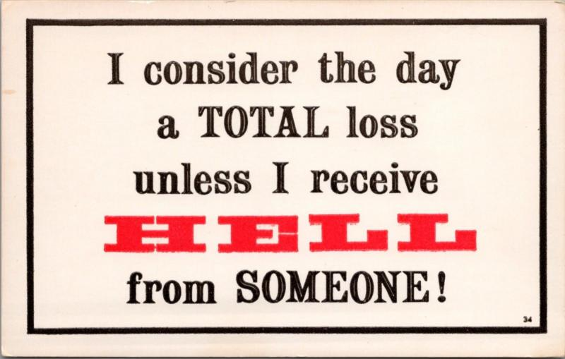 Day Total Loss Hell From Someone Humor Funny Paula Company Unused Postcard D40