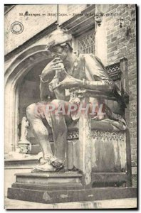 Old Postcard Bourges Hotel Cujas Statue of Louis XI