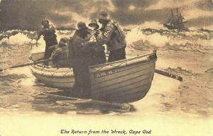 Cape Cod MA The Return from the Wreck Life Saving Postcard