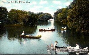 Michigan Detroit Canoeing At Belle Isle 1909 Curteich