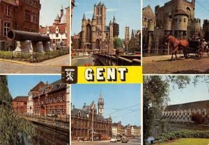 Belgium Groeten uit Gent Eglise Church Town Hall Cars Horse Carriage