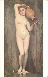 Art Water urn C-1910 Nude woman Classic Ingres postcard 8162