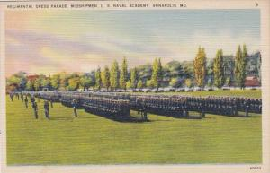 Maryland Annapolis Regimental Dress Parade Midshipmen U S Naval Academy Curteich