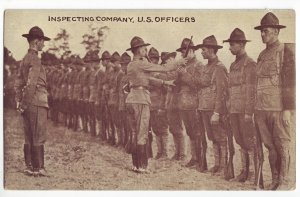 P1245 old unused postcard military inspecting company usa officers