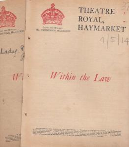 Haymarket Within The Law Drama 2x 1913 & WW1 Theatre Programme s