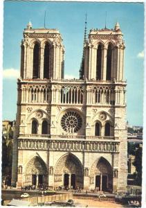 France, Paris, Façade de Notre-Dame, unused Postcard