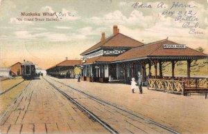 Muskoka Ontario Canada Muskoka Wharf Train Station Vintage Postcard AA4250